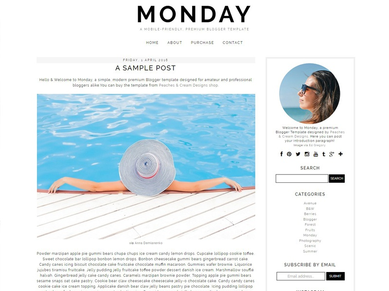 monday pre made blogger template free download by templates