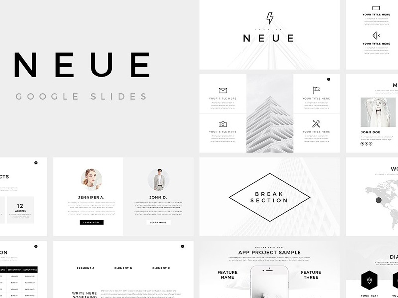 neue minimal google slides template by templates dribbble