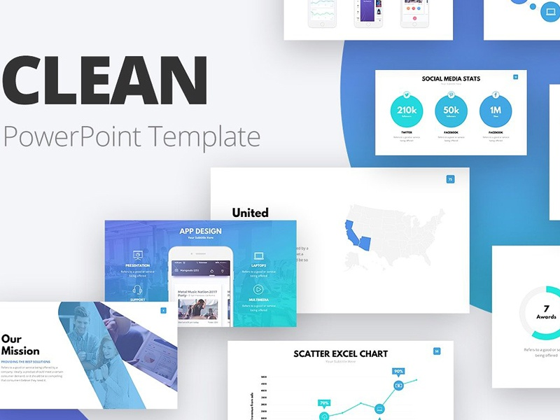 Clean Powerpoint Template By Templates Dribbble