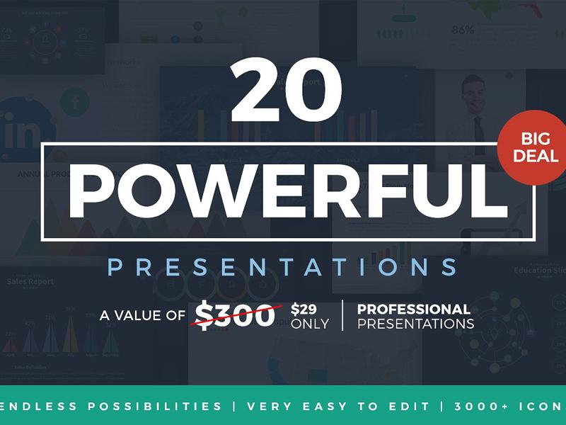 20 powerful presentations bundle by templates dribbble
