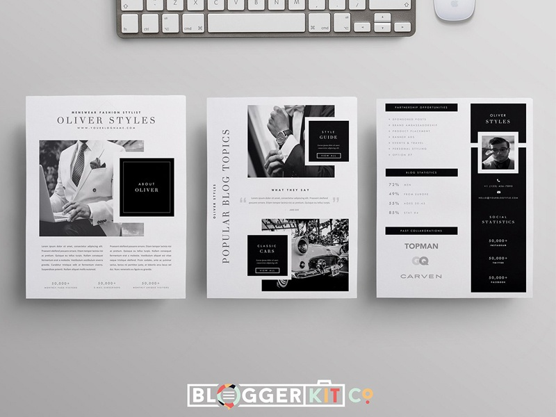 Blogger media kit template 3 pages by templates dribbble for Digital press kit template free