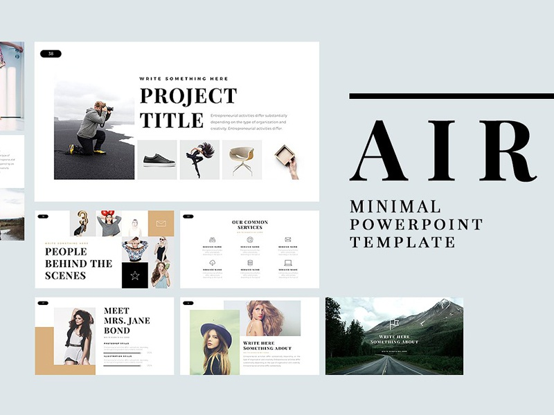 air minimal powerpoint templatetemplates - dribbble, Minimal Presentation Template, Presentation templates
