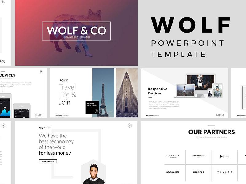 wolf minimal powerpoint templatetemplates - dribbble, Minimal Presentation Template, Presentation templates