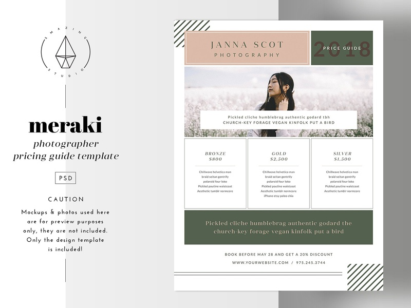Meraki - Pricing Guide Template by Templates on Dribbble