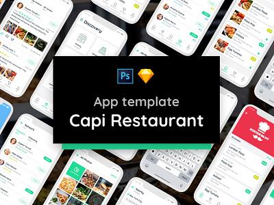 Capi Restaurant UI Kit iOS iphone X template food ui kit restaurant ui restaurant app ui template ui design ui mockup mobile ui iphone x mobile ui kit ui elements ui kit