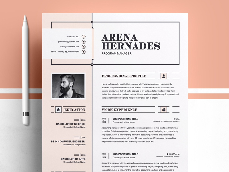 modern resume template by templates dribbble dribbble