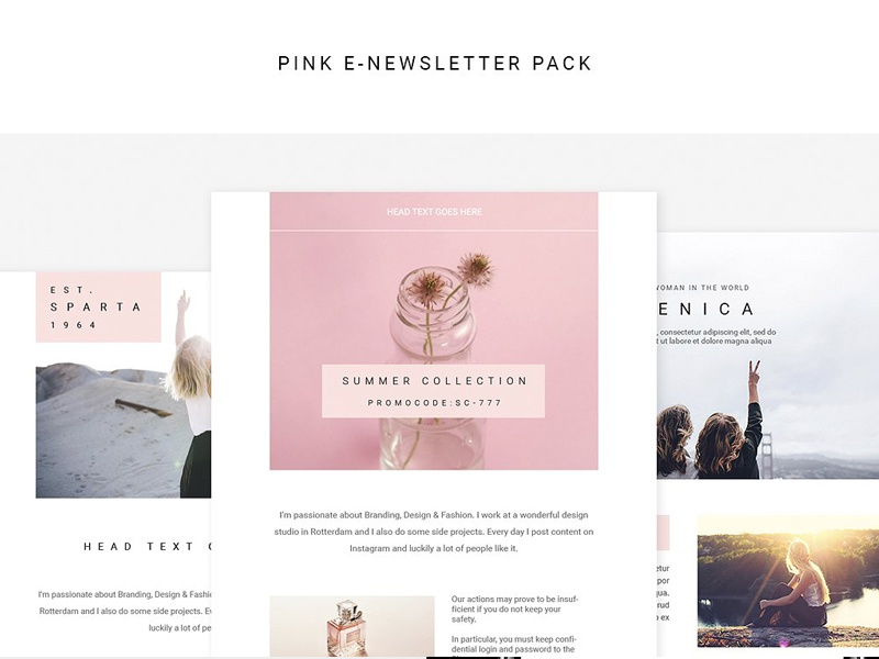 Pink E-newsletter Pack minimal advertising newsletter marketing corporate retail e-commerce professional simple clean template e-newsletter