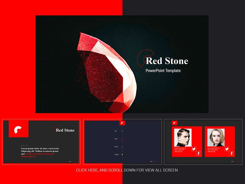 Red Stone Powerpoint Template By Templates Dribbble Dribbble