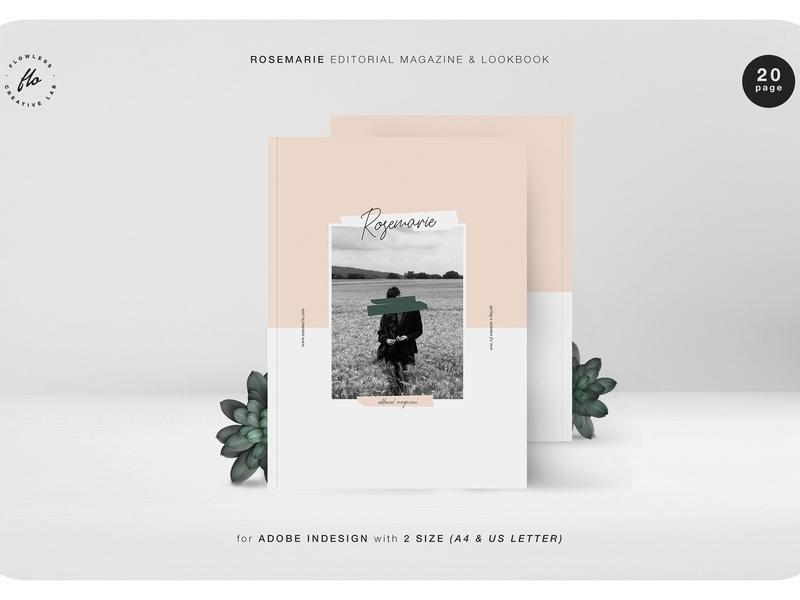 ROSEMARIE Editorial Magz & Lookbook print portfolio lookbook template catalogue catalog magazine us letter a4
