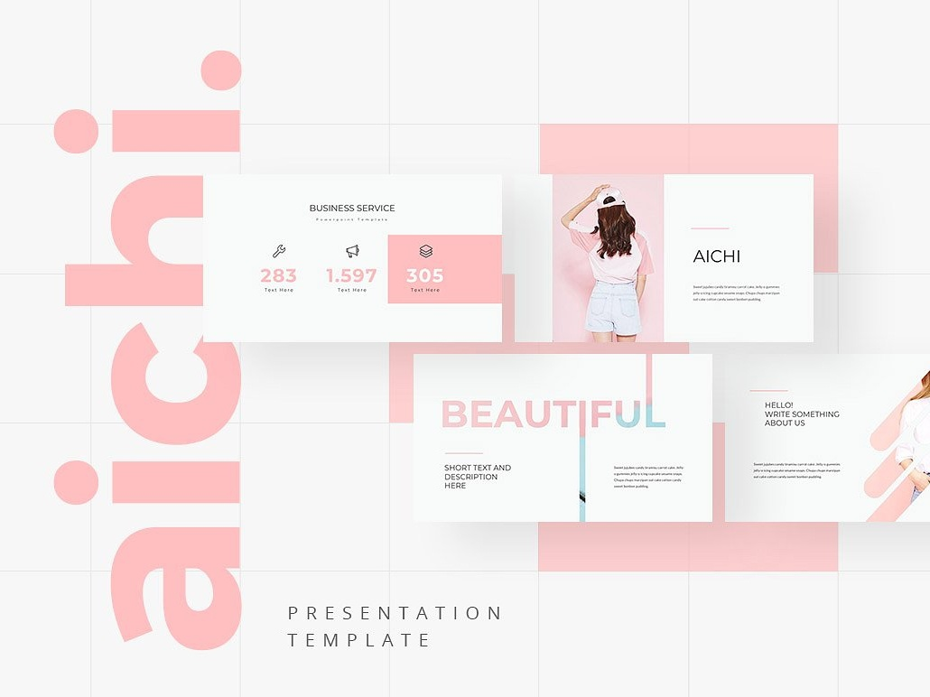 aichi powerpoint template corporate branding creative design feminine portfolio professional elegant simple templates business clean modern