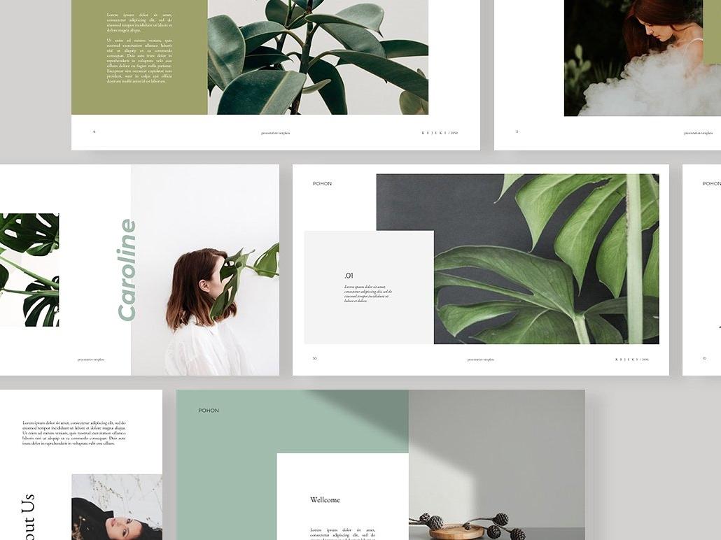 POHON PowerPoint Template Magazine Portfolio Professional Elegant Branding Simple Templates Creative Business Minimal Clean Presentation Modern