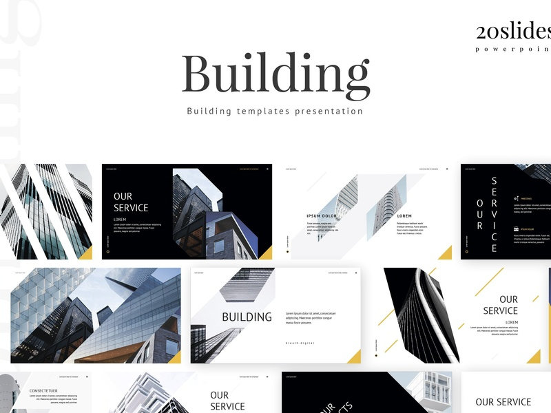 Animated building construction powerpoint template.