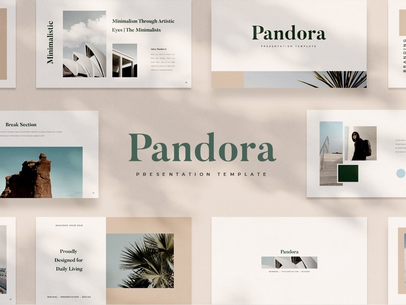 Pandora Powerpoint simple presentation creative clean modern template business presentation business pitching slides lookbook project presentation template minimalist style style minimal minimalist powerpoint template powerpoint pandora powerpoint