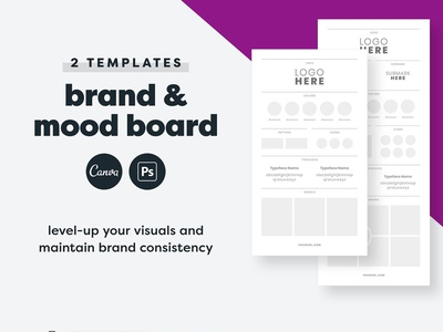 Brand Board Template Canva + PSD canva brand board brand styling collage design kit business tool online business brand guidelines advertising marketing canva template brand boards mood boards mood board psd canva brand board template brand board