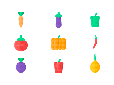 Summer vegetables icons