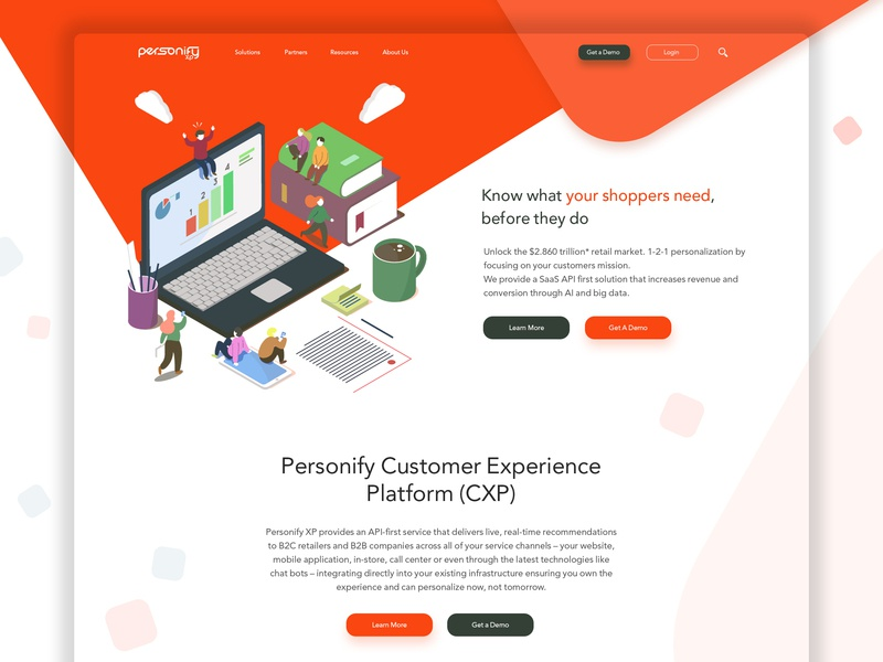 Personify XP home page start page frontpage customer experience ai personalisation shopping marketing e-commerce computer web-design website