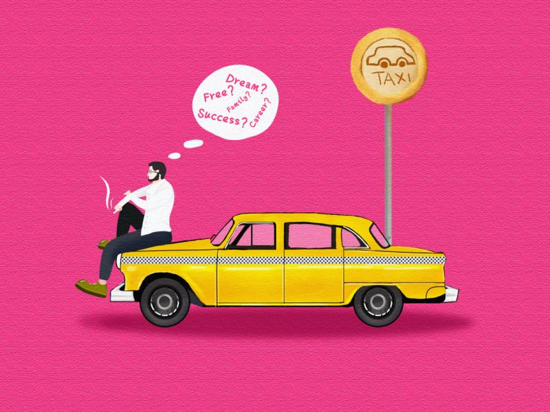 Dream and reality pink man car 插图 设计 illustration design ui