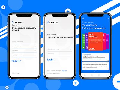 Creakie - Login Screen login app mobile