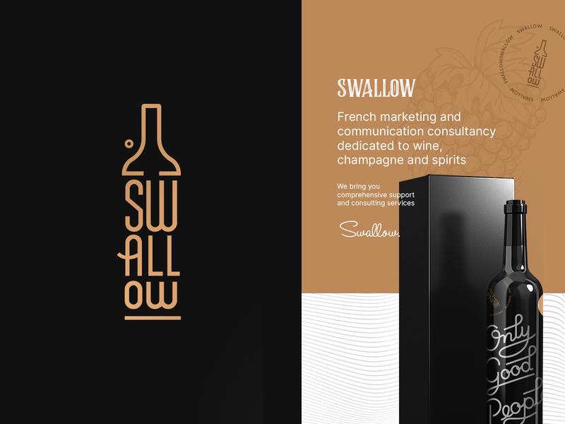 Swallow Logo icon bottle gold black and gold logotype typography design clean logodesign branding luxury vin wine logo