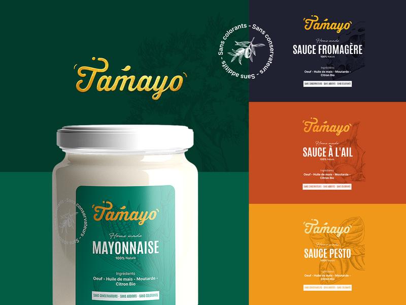 TAMAYO SAUCE mayonnaise kitchen packaging design food logotype logo branding sauce