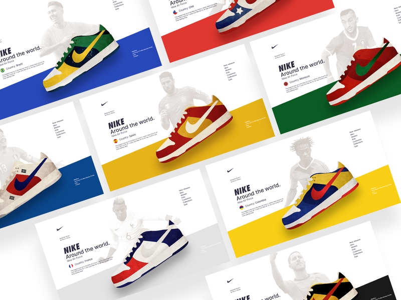 NIKE AROUND THE WORLD website illustration branding world country design clean ui web airforce shoes nike
