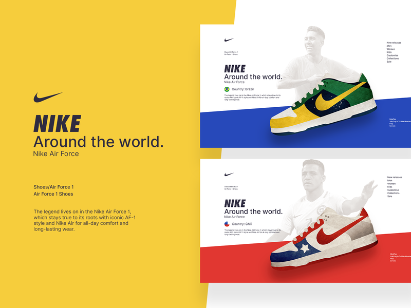 NIKE AROUND THE WORLD website illustration branding world country design ui web airforce shoes nike