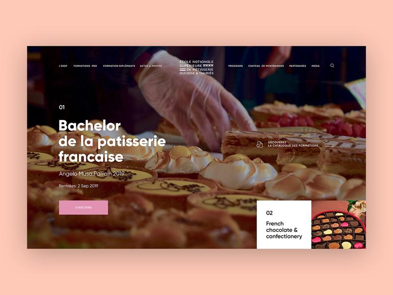 Ecole Nationale Supérieure de Pâtisserie clean ux webdesign website ui design patisserie food pastry