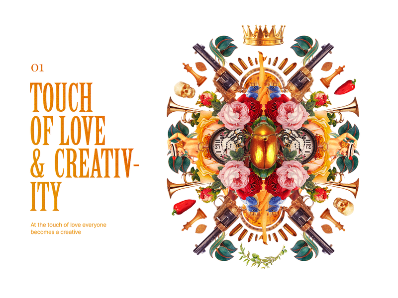 TOUCH OF LOVE & CREATIVITY design elements artwork photoshop death love gun crown roses photomontage