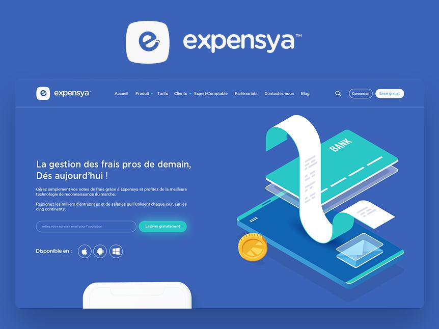 Expensya App management gestion illustration rebrand clean ux ui user experience bank card bank app bank