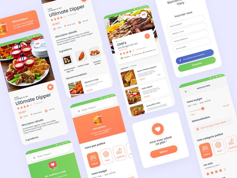 VAZY Food Mobile App rate clean mobile app drink food app mobile food ui
