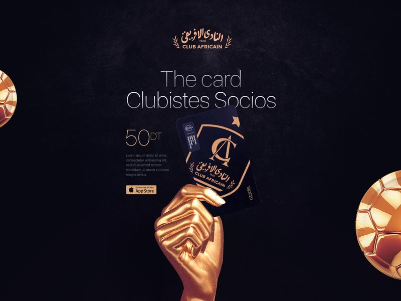 CACARD19/2020 design branding ball soccer poster gold card club africain