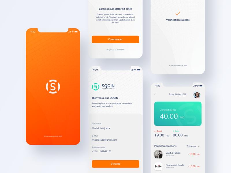 SQOIN Restaurant App mobile app design orange clean ui search currency qoin app mobile