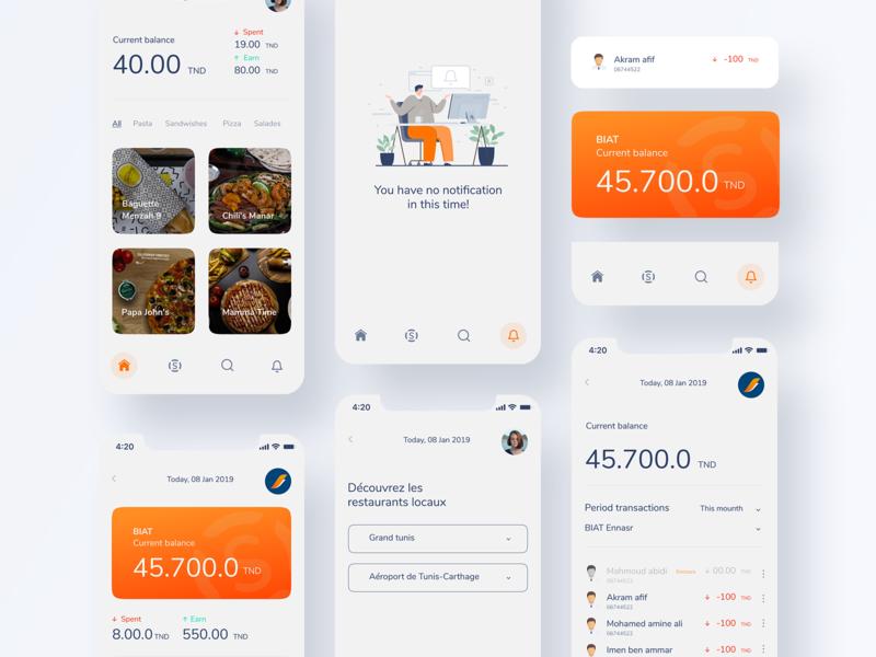 SQOIN Restaurant App mobile card app design uxui coin mobile app design currency clean app