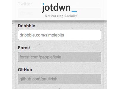 jotdwn homepage homepage form dribbble forrst github network