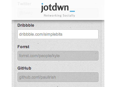 jotdwn homepage homepage form dribbble forrst github network