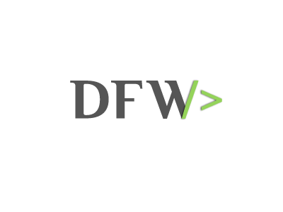 DFW logo initials gray green