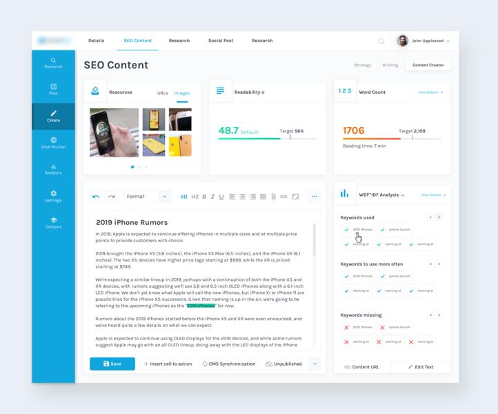 Dashboard Design for Content Marketing Platform dashboard ui user inteface