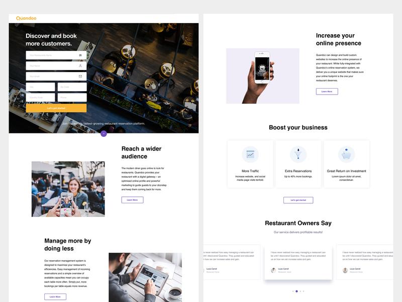 Quandoo Landing Page design landing page web design user inteface ui