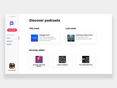 Podclub website ui music podcasts podcast
