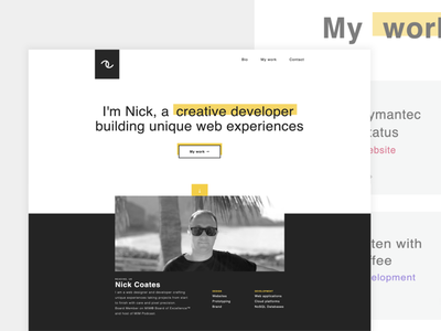 Personal site / nickcoates.uk ui personal project portfolio personal branding personal