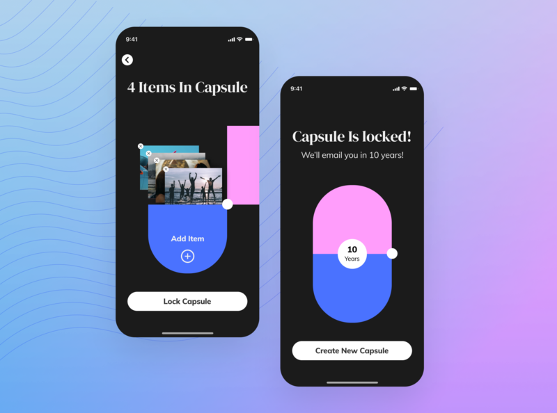 Cloud Time Capsule app vector visual design ai branding concept product design illustration ui ux