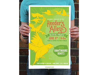 Reeders Alley Block Party Poster poster design screen printing event poster gig poster hand drawn illustration