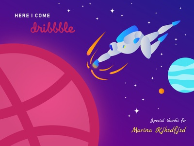 Cheers Dribbble! stars planets space hello debut