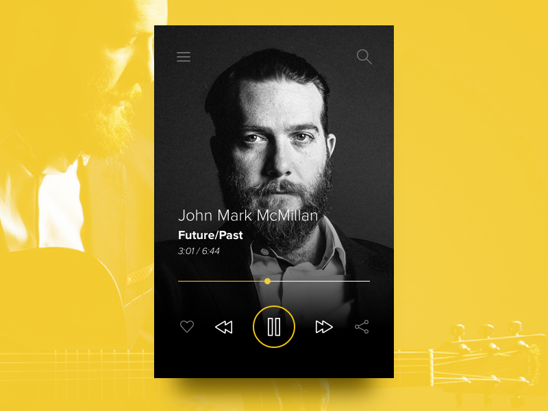 Day 005 - Music Player (w/ Sketch file) artist player music widget free sketch day005 daily100
