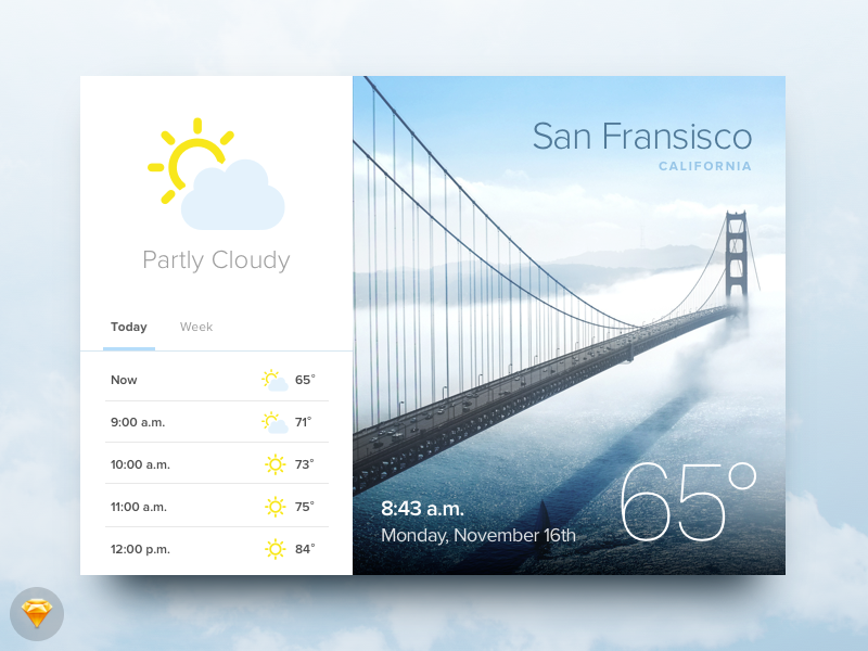 Day 010 - Weather Widget (w/ Sketch file) travel interface temperature icons app weather source widget free sketch day010 daily100