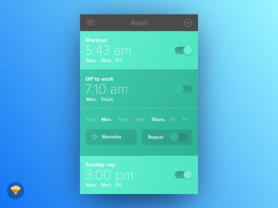 Day 013 - Alarm Clock (w/ Sketch file) ios ui input clock alarm freebie free sketch day013 daily100