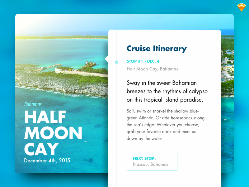 Day 014 - Location Card (w/ Sketch file) timeline itinerary cruise bahamas card location freebie free sketch day014 daily100