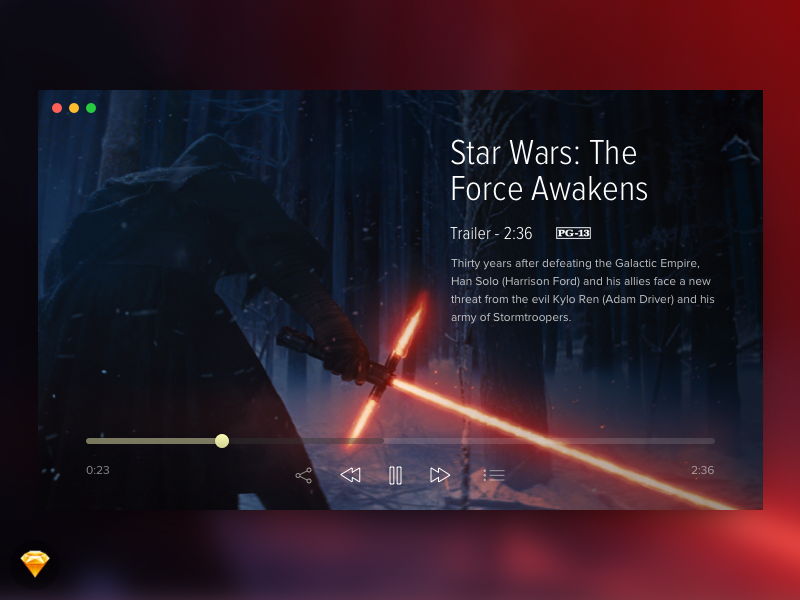 Day 016 - Video Player (w/ Sketch file) modal trailer starwars player video free freebie sketch day016 daily100