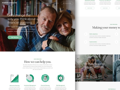 Financial Services Co. - Landing Page (WIP) landing page wip mockup homepage 401k retirement sketch landing services financial