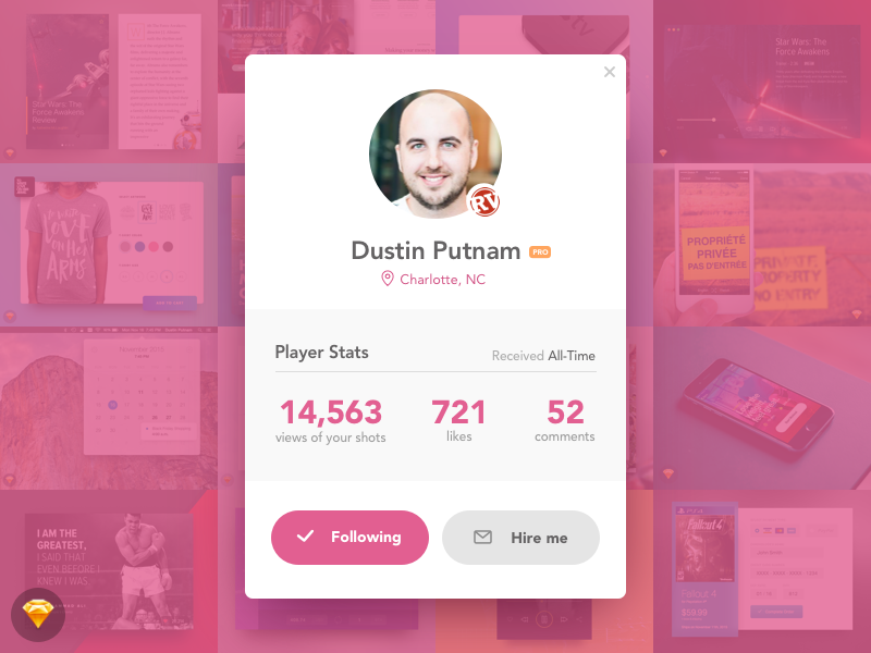 Day 019 - Dribbble Profile Card (w/ Sketch File) widget profile profile card dribbble modal freebie free sketch day019 daily100